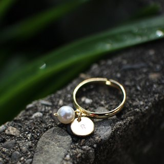 Personalized Dainty 16K Pearl Initial Charms Ring