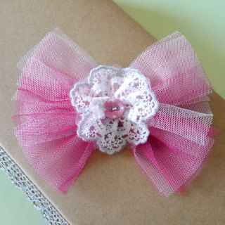 Children's hair hair accessories: peach Red Net yarn + lace bow