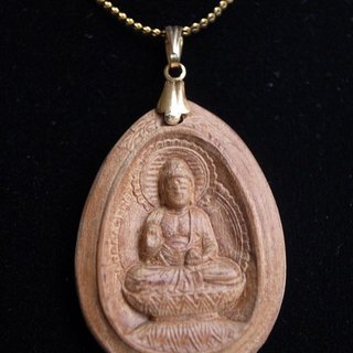 There bless pray for the health of the gift ㊣ India Laoshan sandalwood Body necklace - Pharmacist Buddha (gold necklace paragraph)