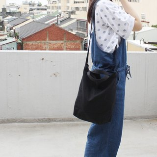 2 way canvas bag-Black. Short handle