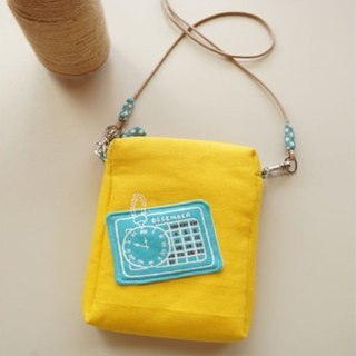 Hand-painted time stamped passport bag / phone package (lemon yellow / blue and green dots)