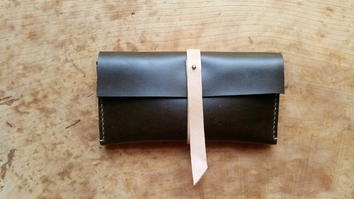 038 irregular Beauty - olive green leather hand-stitched leather pencil case / wallet