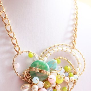 Jade, Turquoise with colorful stone and white pearl with Non-tarnish Golden Wire Wrapped Necklace (N458)