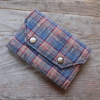 Brut Cake handmade textiles - business card holder zero wallet (black and blue / red, green and blue plaid)