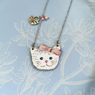 Big bow cat enamel necklace (stainless steel chain)