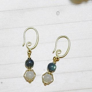 Brass natural stone * X * _ floating dream hook earrings