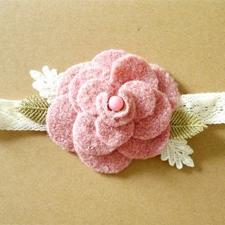 Pink flower hair band