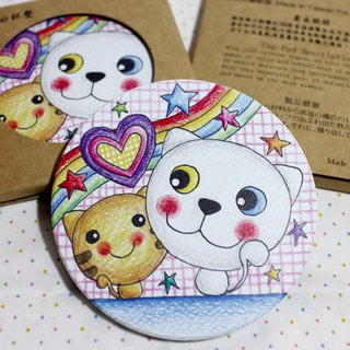 Ceramic water coaster _ (cat couple)