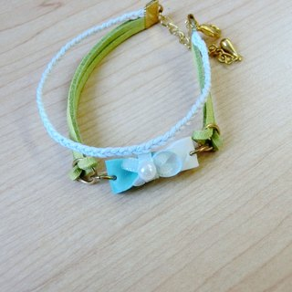 Matcha green ♡ milk color bow Woven Bracelet