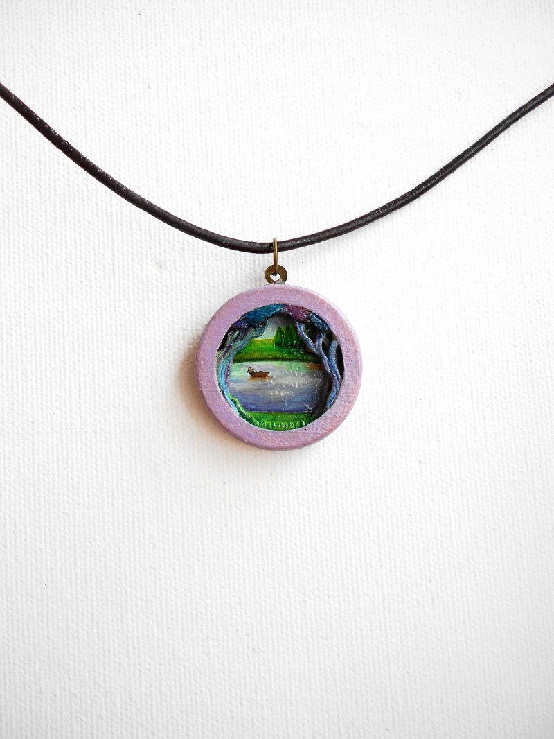 Lake handmade multi-layer carpentry woodworking pendant necklace 包邮