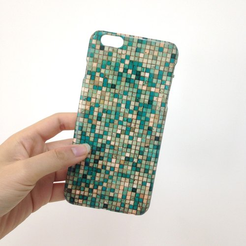 mint teal turquoise tile pattern 3D Full Wrap Phone Case, available for  iPhone 7, iPhone 7 Plus, iPhone 6s, iPhone 6s Plus, iPhone 5/5s, iPhone 5c, iPhone 4/4s, Samsung Galaxy S7, S7 Edge, S6 Edge Plus, S6, S6 Edge, S5 S4 S3  Samsung Galaxy Note 5, Note 4