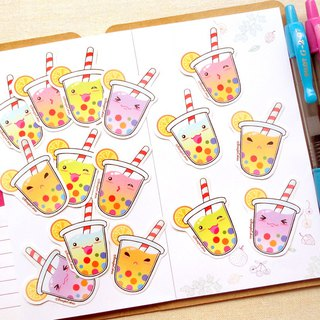 Rainbow Bubble Tea Stickers (15 Pieces)