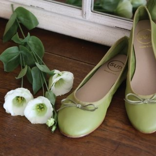 SUD leather ballet shoes Macaron green tea green