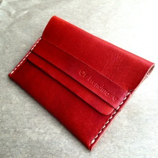 Hand-stitched leather business card holder (orange) Leather Business Card Holder