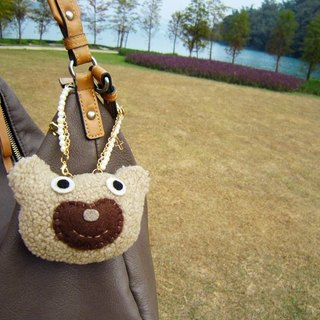 Bear Bag Charm, Handmade Plush Bear, Beads, Metal Chain, Dark Brown, Beige