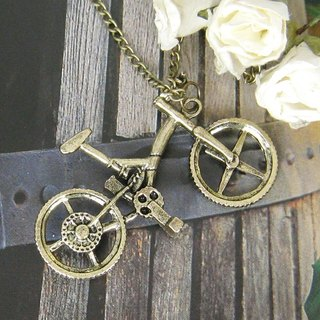 Green bronze cycling long necklace