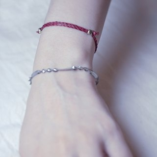 ✡ careful machine - love red braided around the line ✡ deep red telescopic knot wax line bracelet