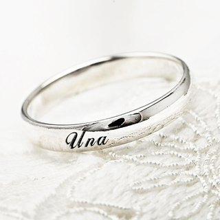 Custom Rings Engraving Silver Rings 4mm Curved Lettering English Text Names Pure Silver Rings -ART64