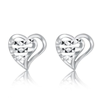 Hong Kong Design 14K / 585 white gold net gold heart-shaped earrings Fashion