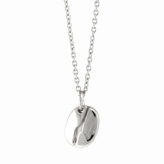 COFFEE - Flat Coffee Bean Necklace /Stainless Steel Chain