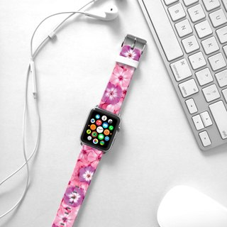 Apple Watch Series 1 , Series 2, Series 3 -Pink Morning Glory Floral pattern Watch Strap Band for Apple Watch / Apple Watch Sport - 38 mm / 42 mm avilable