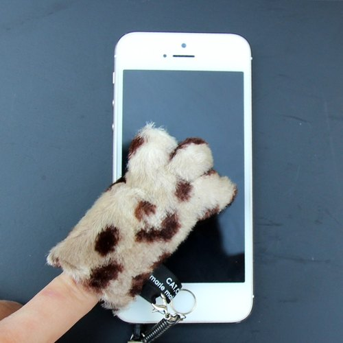 Cat palms - mobile phone screen cleaning strap. Headphone plug