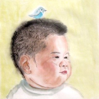 25 x 25cm Custom Portrait, Child's Portrait, Children's Personalized Original Hand Drawn Portrait from Your Photo, OOAK watercolor Painting Ideas Gift