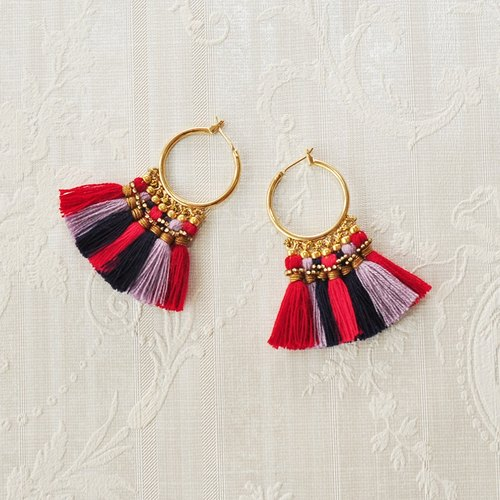 Tassel Pierced earrings/ red