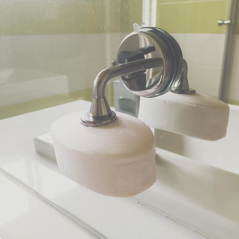Magnetic suction cup soap holder