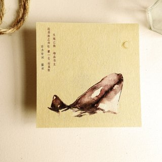 Hand-painted animal postcard - whale wildlife