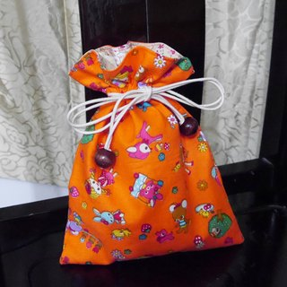 Orange woven fabric pouch cute doll *
