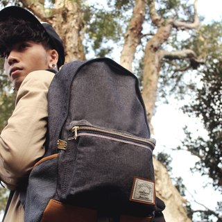 Matchwood Design Matchwood Infantry Waterproof Notebook Backpack Backpack Backpack Backpack 17吋 Laptop Protection Denim Cloth