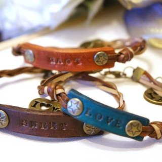 Delicate wind leather plate Bracelet / Available lettering