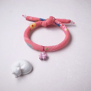 Japanese kimono dog collar & cat collar【Single knot】Coral_S size