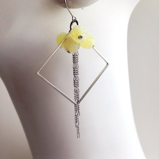 [Order production] earrings / Silver 950 SHIKAKU × freezing bonbon: Lemon
