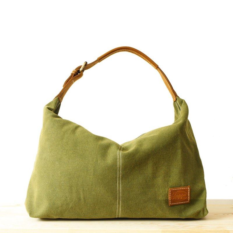 cf34f419f0  Happa  youthful invincibility soft shoulder backpack (in) - Stone wash  canvas classic (Valentine Gifts) (Olive olive green) - Designer happa-tw