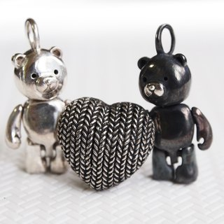 Shabon Lee silver designer toy jewellery figure - Bear Alliance - Original Classic  White bear + Dark Turkish  Bear holding the Weave love together . Exclusive 925 sterling silver action figure necklace pendant.