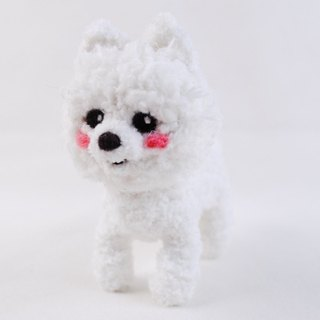12cm pet cloned [feiwa Fei handmade doll] (shearing Version) white Pomeranian pet doll (Welcome to order your dog)