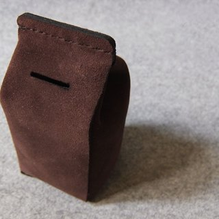 Leather milk carton piggy banks by YOURS original design. Coffee suede texture