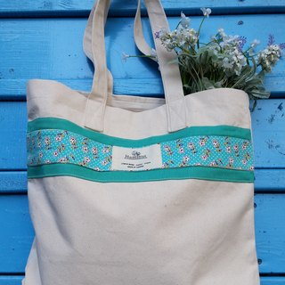 Scandinavian-style green floral pattern bag / handbag / shoulder bag / cotton canvas / handmade