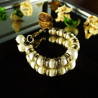"""Classic Collection"" smile lucky charm bracelet (black) handmade vintage brass"
