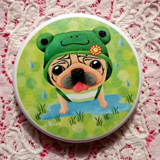 Pug Pocket Mirror-Frog raincoat