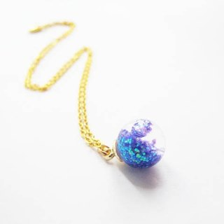 *Rosy Garden*Galaxy glitter with water inside glass ball necklace