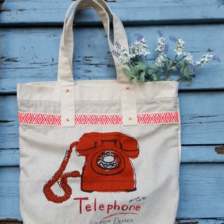 Retro phone pattern bag / handbag / shoulder bag / handmade / scrim / occupied / gifts / birthday gift