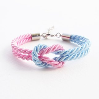 Sweet pink and Sky blue rope knot bracelet