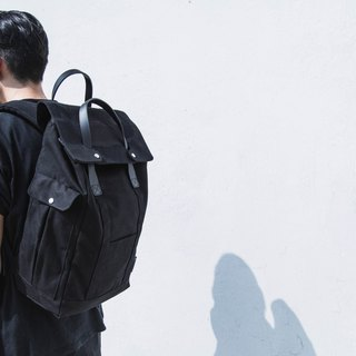 Waxed Canvas with Leather trim Backpack Daypack -Black