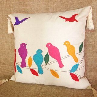 【Grooving the beats】Hand Embroidered Cushion cover / Pillow Cover /   Decorative Pillows/ Pillow Case(Bird)