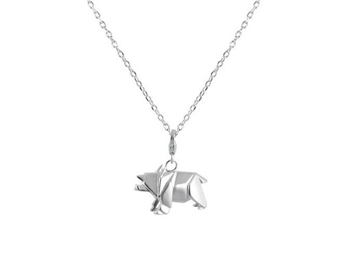Forest fairy origami boar silver necklaces