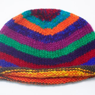 New Year gifts hand made of pure wool hat / knitted caps / hand-woven caps / wool cap (made in nepal) - rainbow stripes