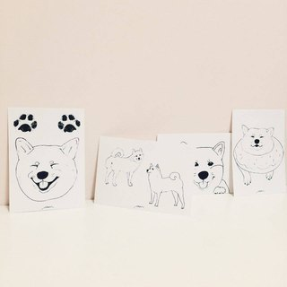 Hand-painted postcard - Shiba daily series (the four Special Package)